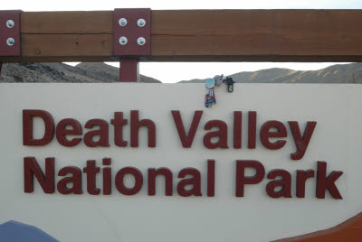 Anteater by the Death Valley National Park sign