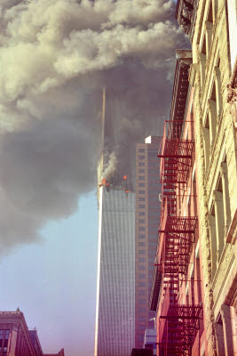 View of second tower burning