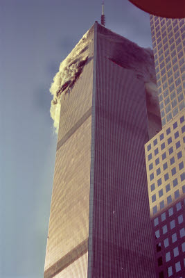 World Trade Center moments after impact of first plane