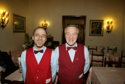 Friendly waiters at Reistorante La Posta