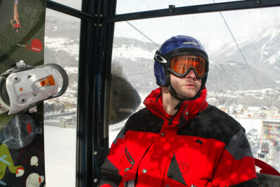 Joe on the Lift in Bormio