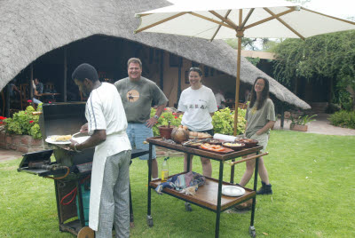 African breakfast on the lawn