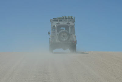Defender on the way to Sossusvlei