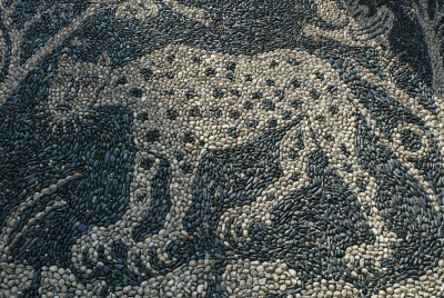 Pebble Mosaic of Cheetah in Garden