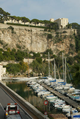 View of Monaco Palace from Port de Fontvielle