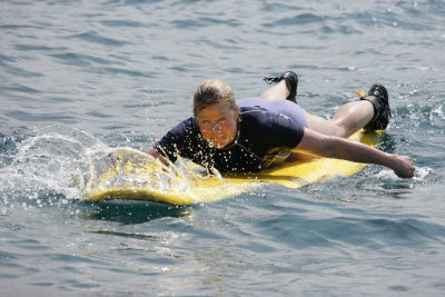 Lisa Paddling on the Surf Board