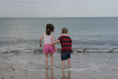 Katie and Cooper on the Beach in Duxbury