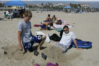 Alex and Mark playing in the Sand at Huntington Beach
