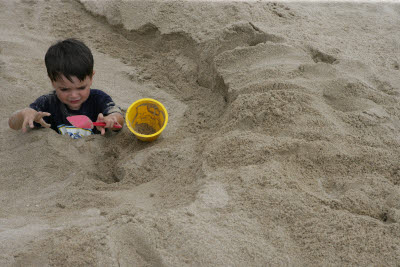 Playing in the sand with Liam