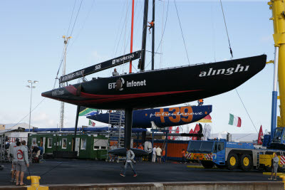 Putting boats in the water at Americas Cup Village