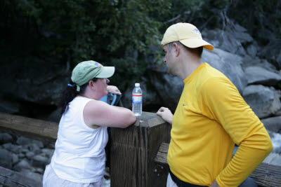 Cheryl and Joe discuss their progress on the hike