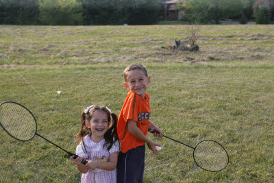 Danny and Mattie playing Badminton
