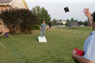 Bean bag toss at Gunnar's birthday party