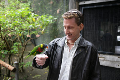 Paul with a Lorikeet at the Wild Animal Park
