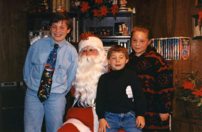 Jeremy, Jason, and Brandon with Santa