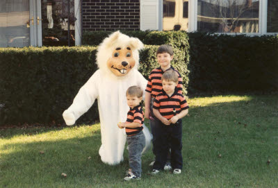 Jeremy, Jason, Brandon, and the Easter Bunny (Mark) at Rosetree