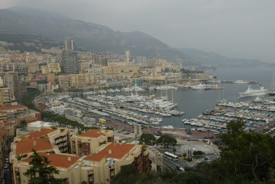 Scenic Overlook View of Port Hercule and Monte Carlo