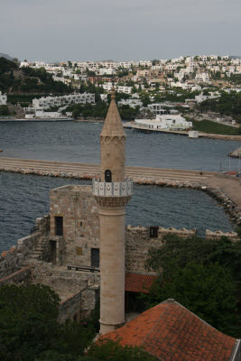 Mosque minaret in the Castle of St. Peter, Bodrum, Turkey