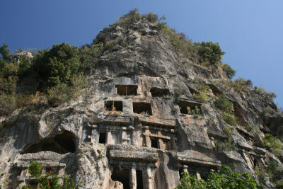 The rock cut tomb of Amyntas in Fethiye, Turkey