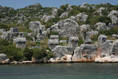 Lycian Tombs on the shore near Kale (Simena), Turkey
