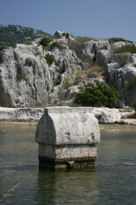 Submerged Lycian Tomb near village of Kale (Simena)