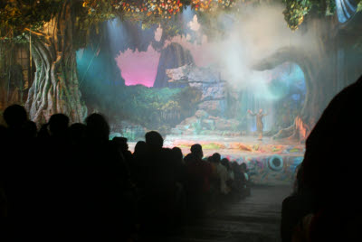 One of the many elaborate stage productions at Disney Sea