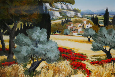 Painting of Southern France Countryside