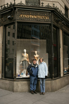 Michele and John outside Saks Fifth Avenue