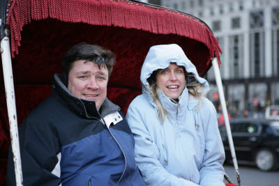 Michele and John on carriage ride in New York's Central Park