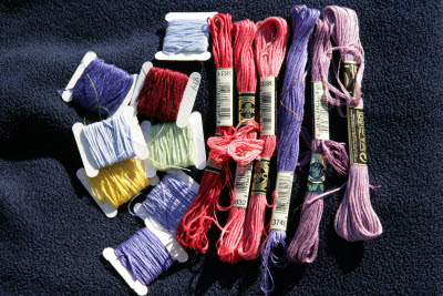 Collection of cross-stitch floss.