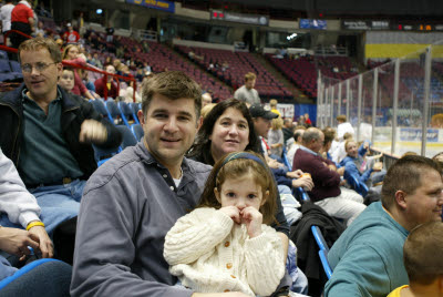 Katie, Joe and Cheryl at the Albany River Rats Game